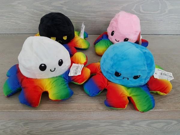 Reversibler Plüsch Oktopus Rainbow unifarben