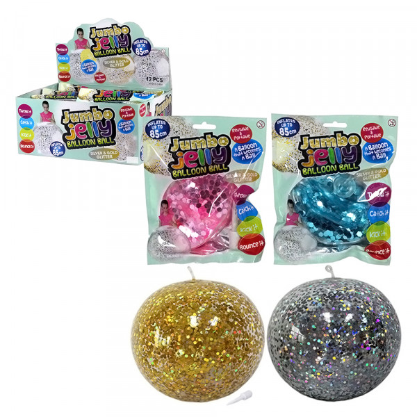 Fun Ballon Jumbo mit Disco-Glitzer